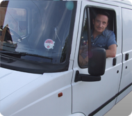 Sean in a van